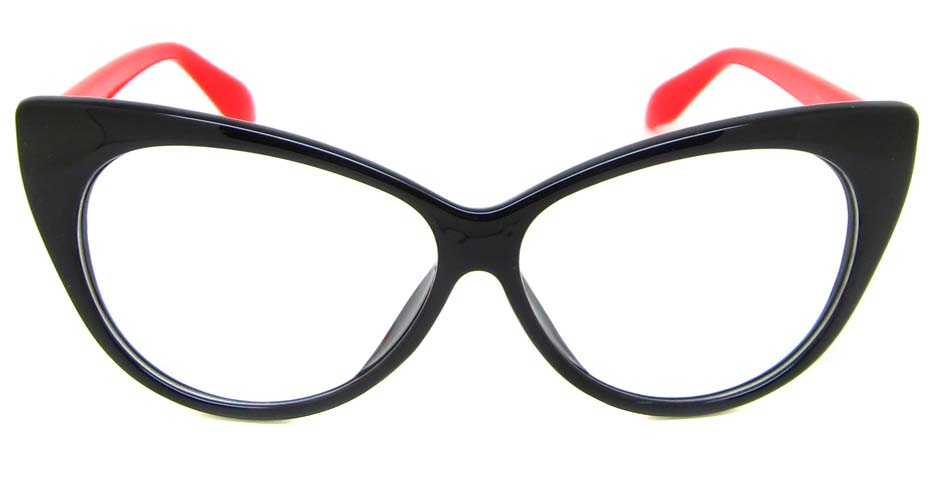 black  plastic cat eye retro frame  BLK-MX77042-HS