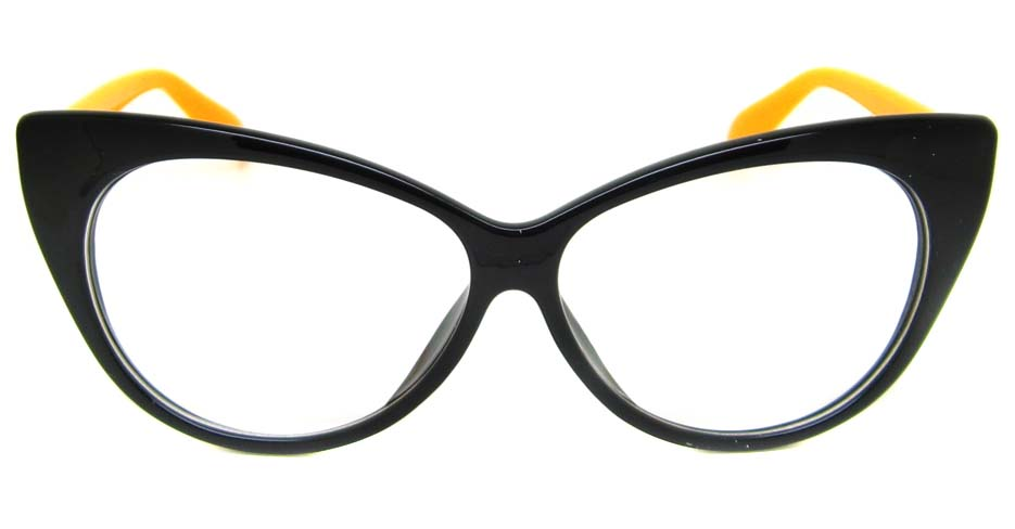 black  with yellow plastic cat eye retro frame BLK-MX77042-HT