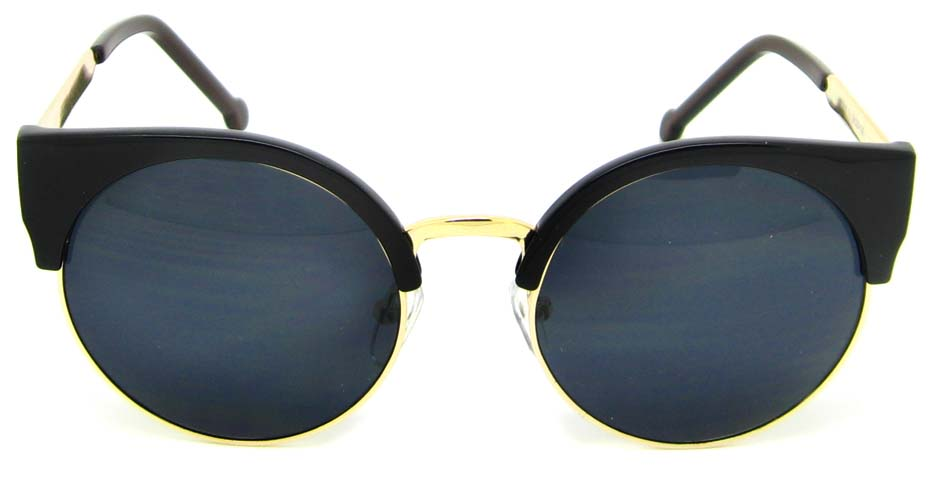 Black with gold round blend retro frame YM-K52107-C1