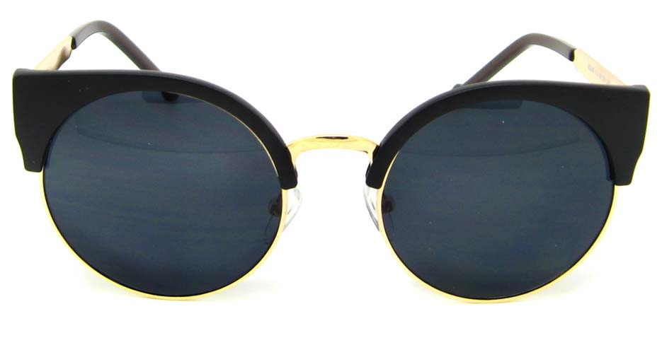 Matte Black with gold round blend retro frame YM-K52107-C2