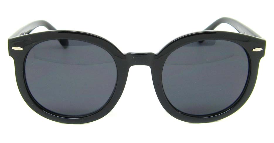 Black  plastic oval retro frame BLK-JT77282-HS