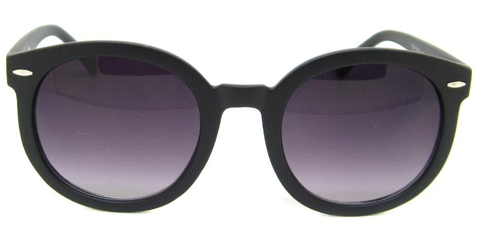 Matte  Black  plastic oval retro frame BLK-JT77282-MS