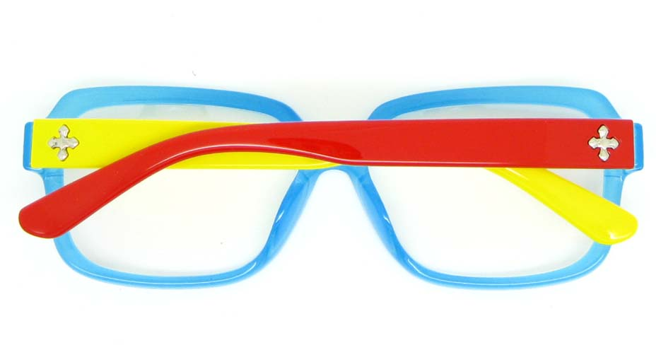 yellow with blue oval Plastic glasses frame WLH-2218-K50