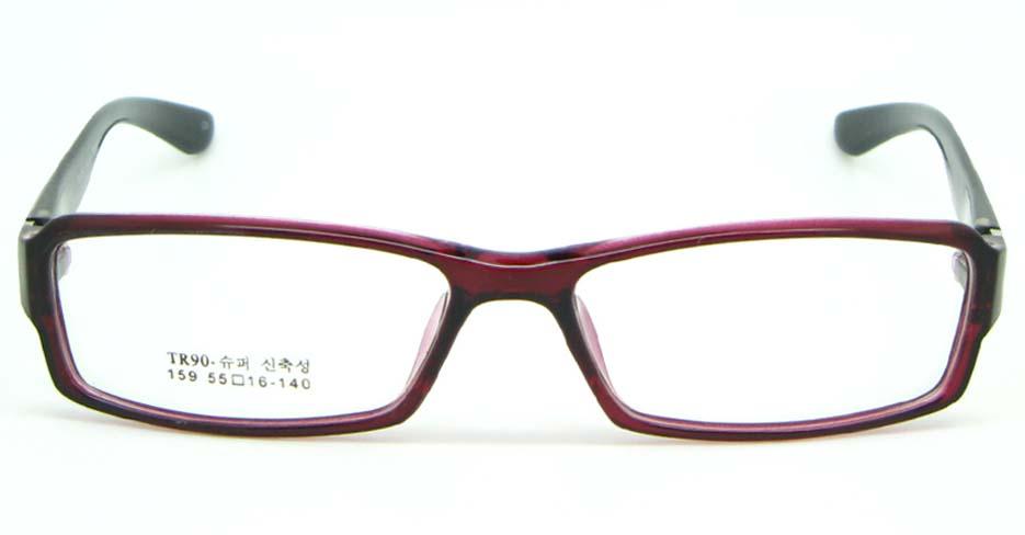 black with red tr90 Rectangular glasses frame JNY-MJN159-C5