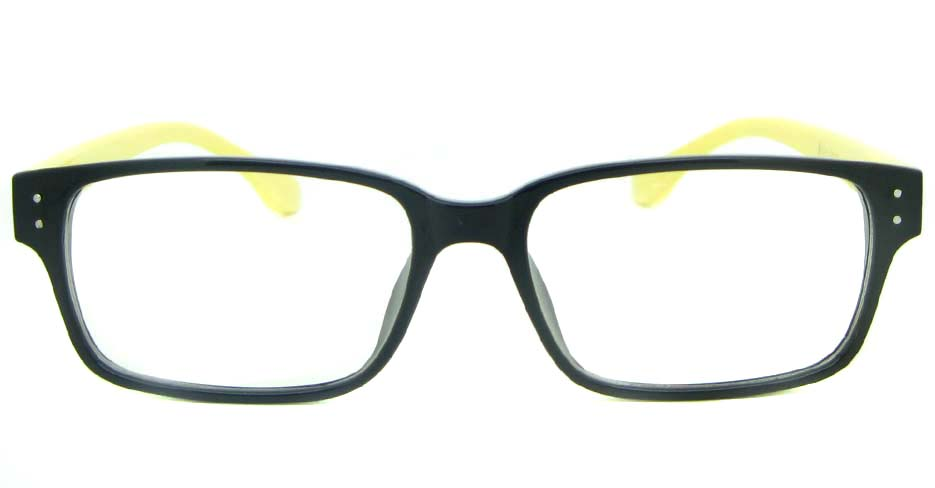 black with yellow Rectangular tr90 glasses frame YL-KDL8036-C3