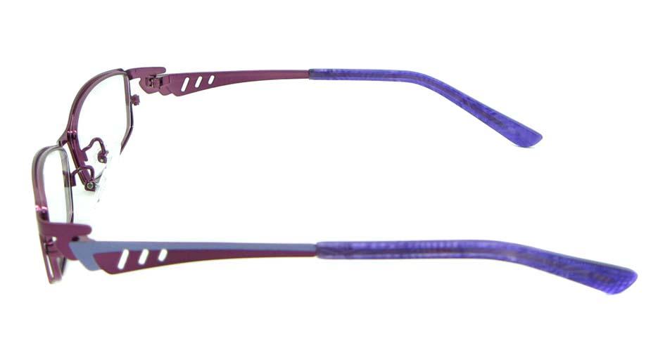Burgundy oval metal glasses frame JNY-KM8825-Z