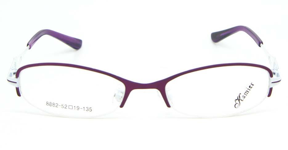 purple metal oval glasses frame WKY-KM8882-Z
