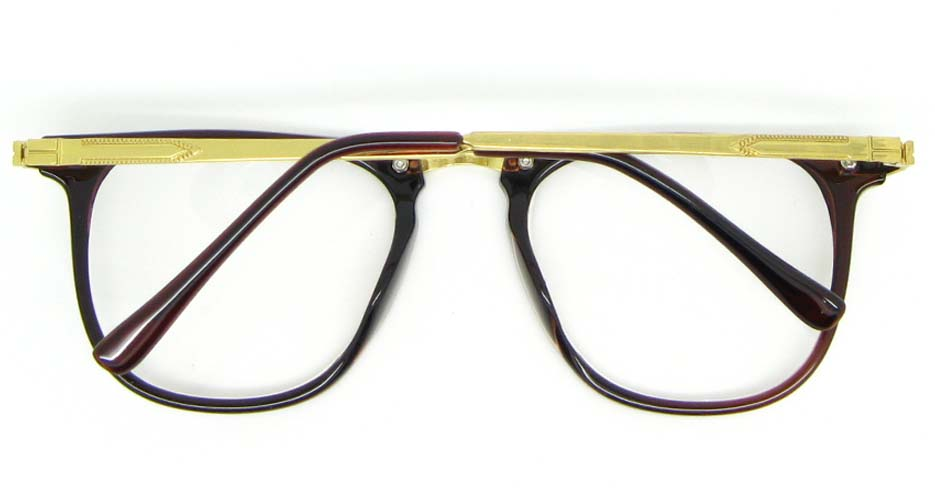gold with brown blend oval glasses frame WLH-5025-C3