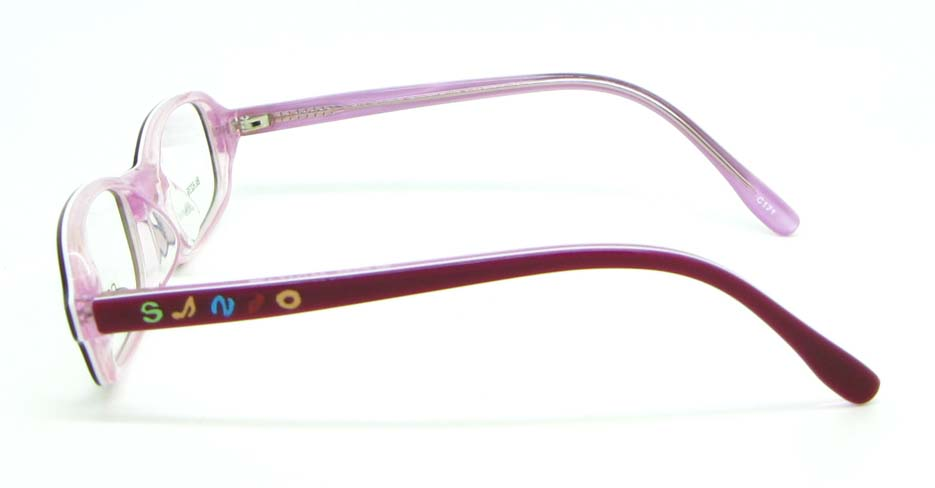 brown with pink plastic rectangular glasses frame JNY-BL6239-C171