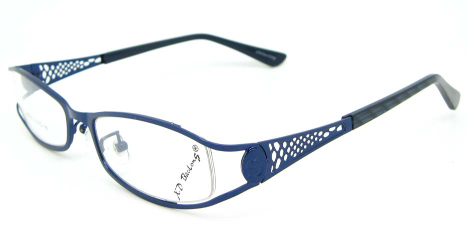 blue metal oval glasses frame WKY-XDBL508-L