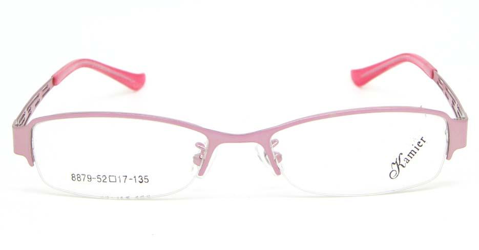 pink metal oval glasses frame WKY-KM8879-F