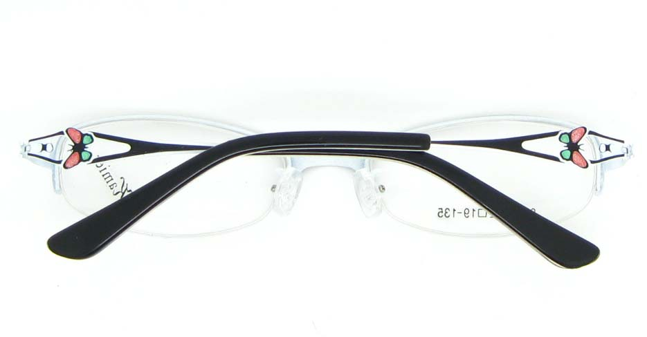 black metal oval glasses frame WKY-KM8882-HS