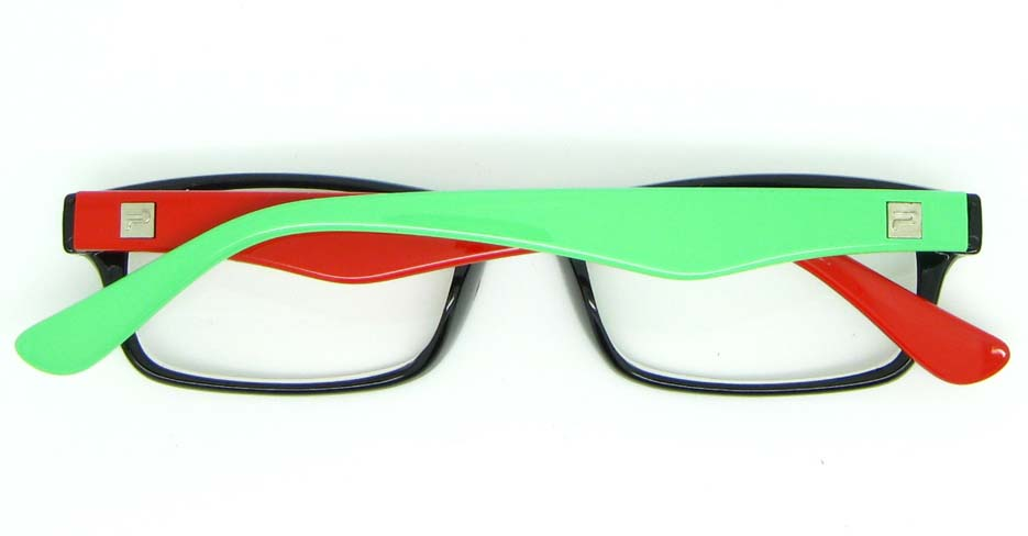 green with red and black retro plastic oval glasses frame WLH-2212-104