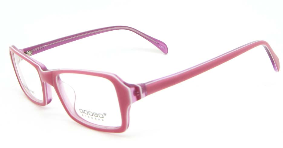 pink Acetate Rectangular glasses frame WKY-BL6158-C137
