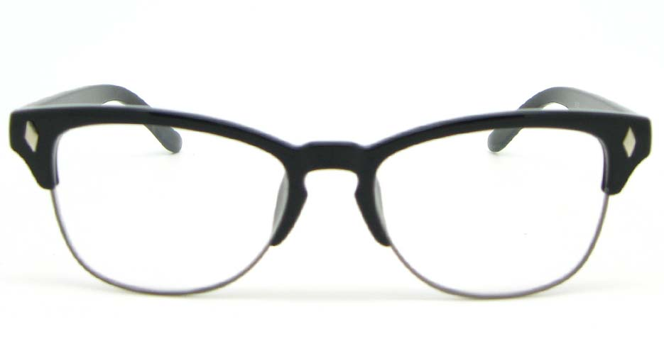 oval black blend glasses frame  WLH-0026-C1