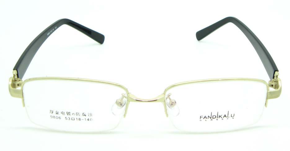 black with gold blend Rectangular glasses frame JNY-FKL9806-J