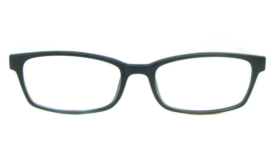 black with white tr90 rectangular glasses frame YL-KLD8004-C6HT