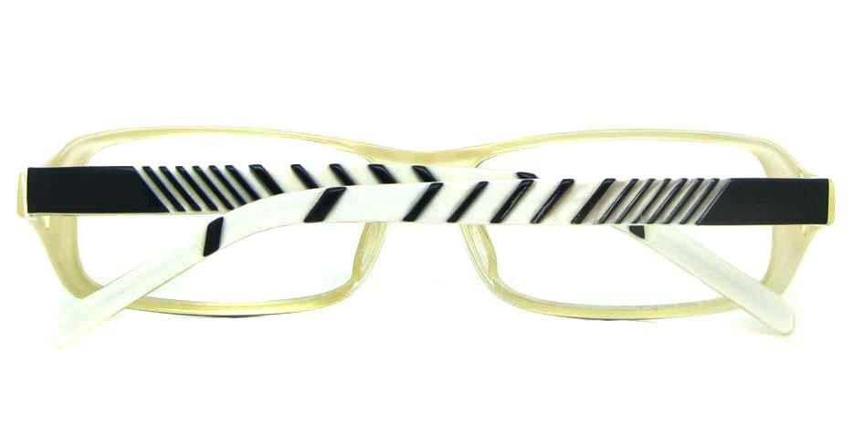 black with khaiki and white plastic rectangular glasses frame YL-JB8318-C542