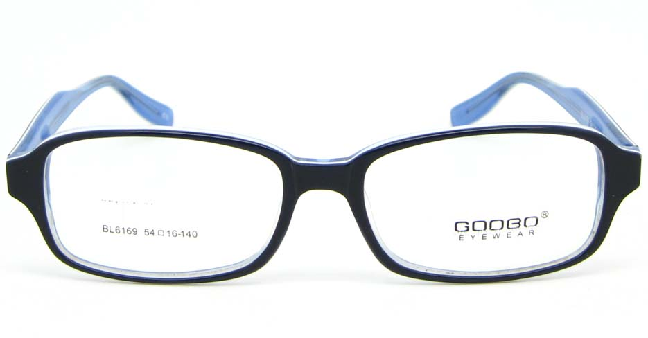 black with blue Acetate rectangular glasses frame WKY-BL6169-C10