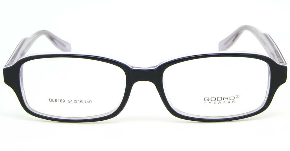black with khaki Acetate rectangular glasses frame WKY-BL6169-C78