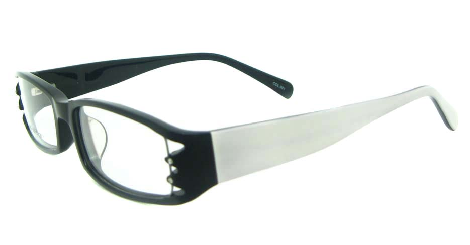 black with white plastic rectangular glasses frame YL-ZY1859-C001