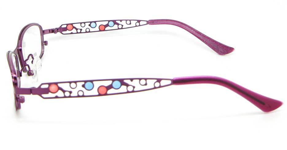 purple metal oval glasses frame WKY-KM8881-Z