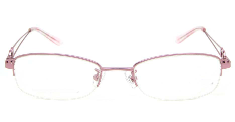 Pink oval metal glasses frame WKY-KM5528-F