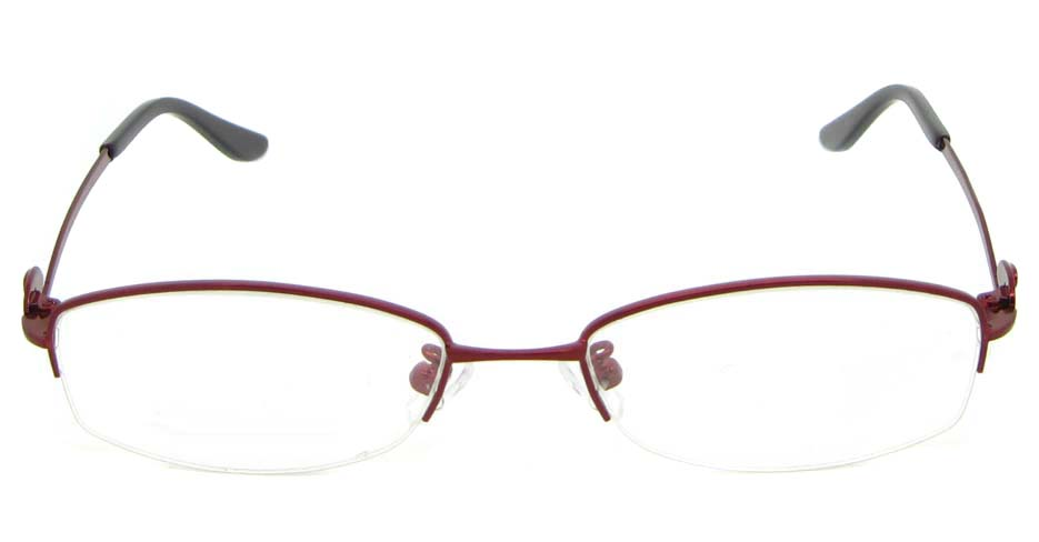 Red metal oval glasses frame WKY-KM5515-H