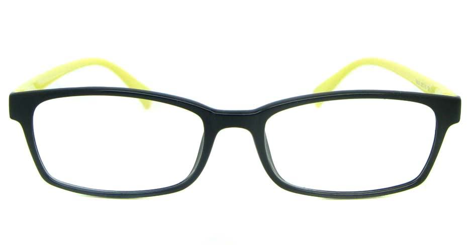 black with yellow tr90 rectangular glasses frame YL-KLD8004-C6HT