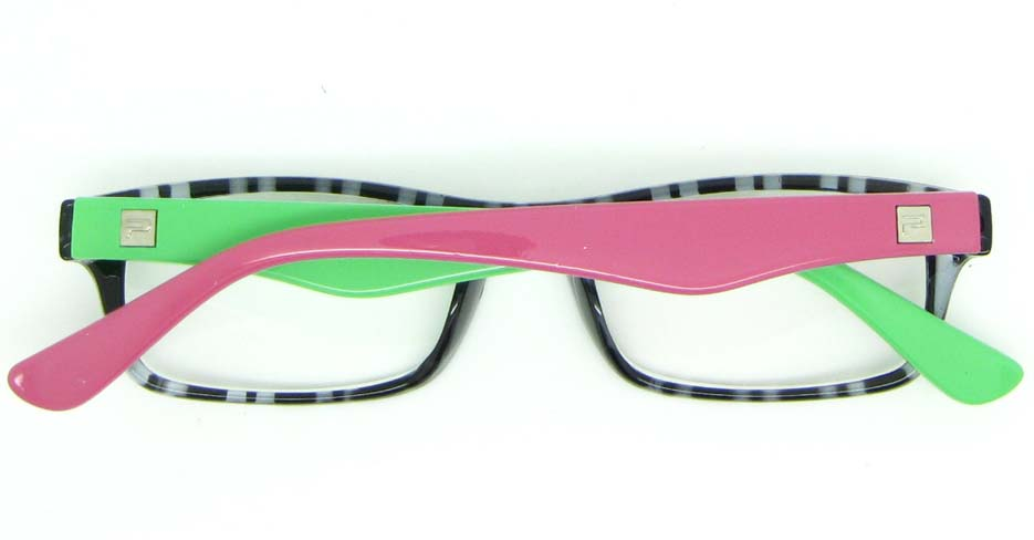 pink with green  retro plastic oval glasses frame WLH-2212-K103