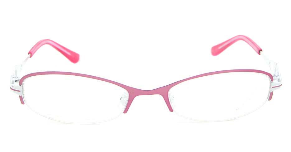 pink metal oval glasses frame WKY-KM8882-F