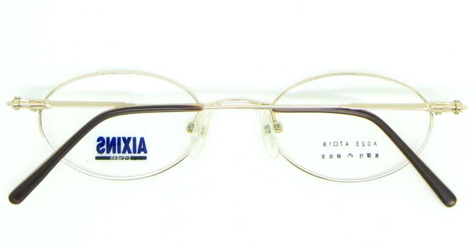 gold metal oval glasses frame JNY-AO2347-J