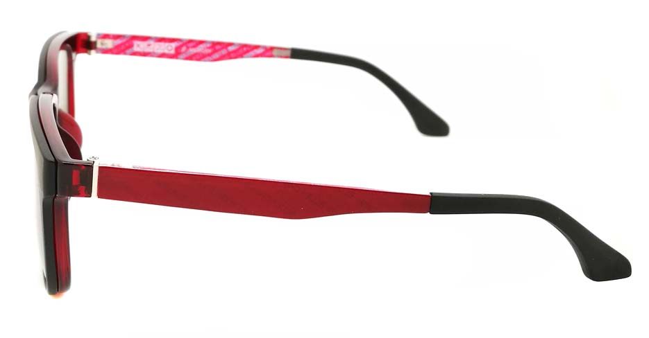 TR Oval Red  Polarized  Magnetic Clip on Sunglasses SM-2021-C082