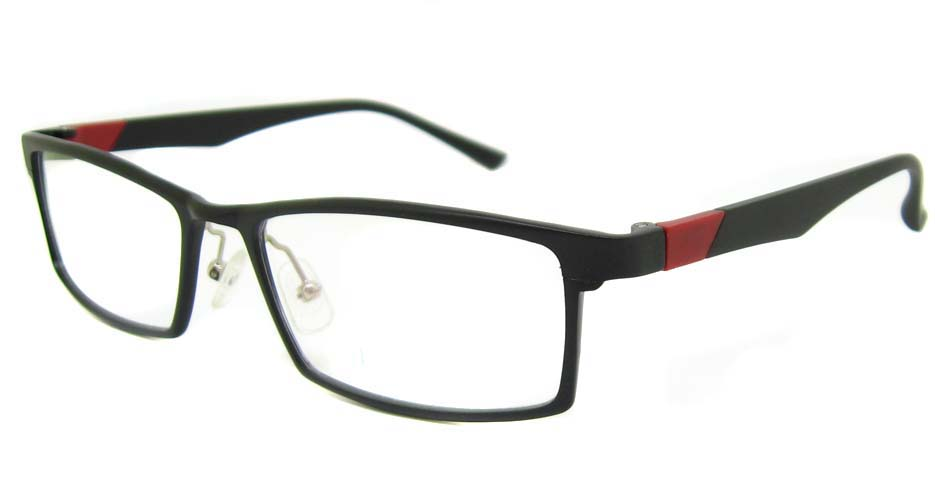 Al Mg alloy black with red Rectangular glasses frame LVDN-GX103-C01