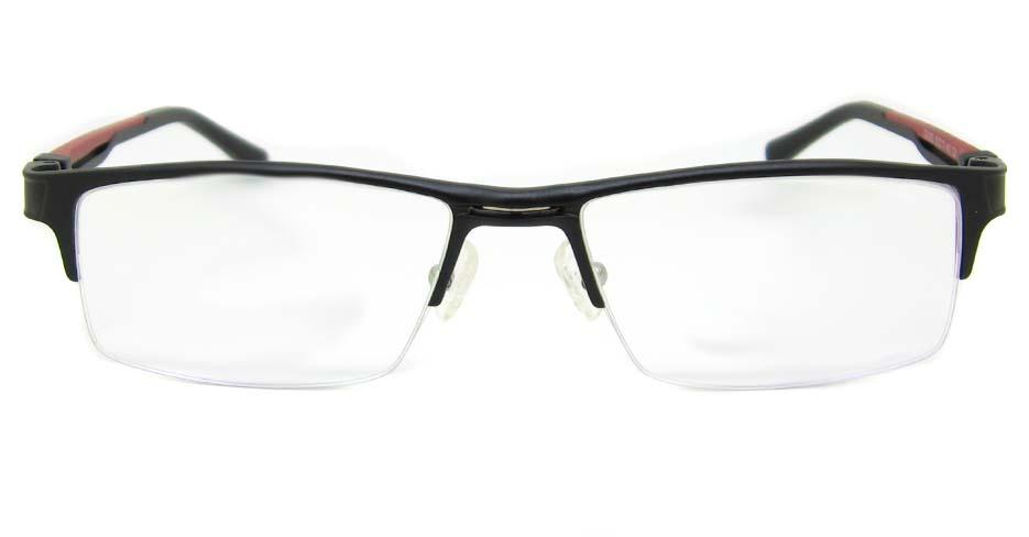 Al Mg alloy black with red rectangular glasses frame LVDN-GX093-C01