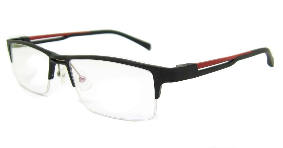 black with red Half frame Glasses