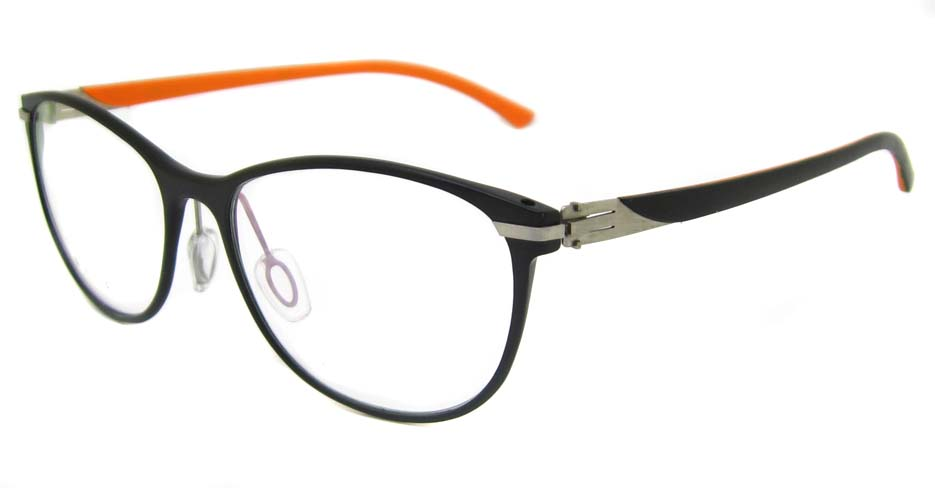 Al Ti  black with orange Oval glasses frame SM-GX195-C01-2