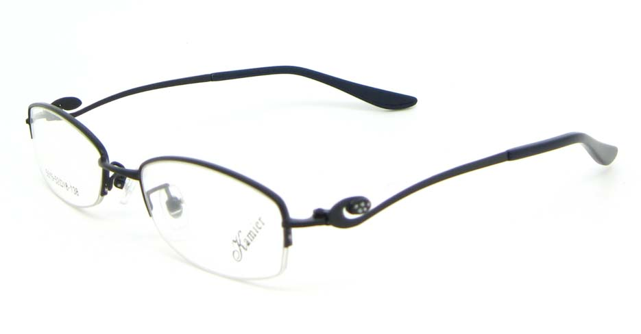 Black metal oval glasses frame WKY-KM5515-HS