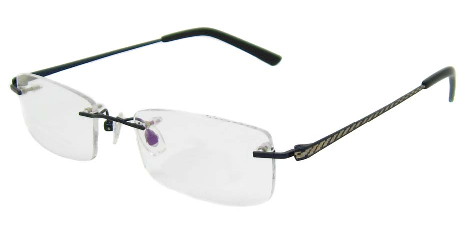Black metal rectangular rimless YJ-J1150-HS