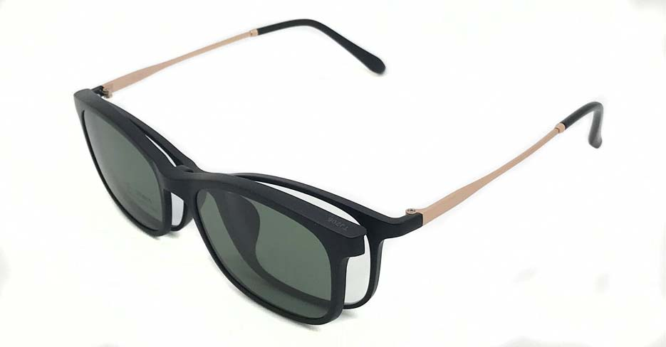 Black with gold TR90 and Metal magnetic polarized  sunglasses FMH-TJ206-C01