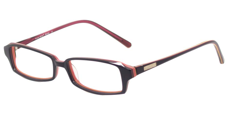 Black with red acetate rectangular glasses frame HL-Punul
