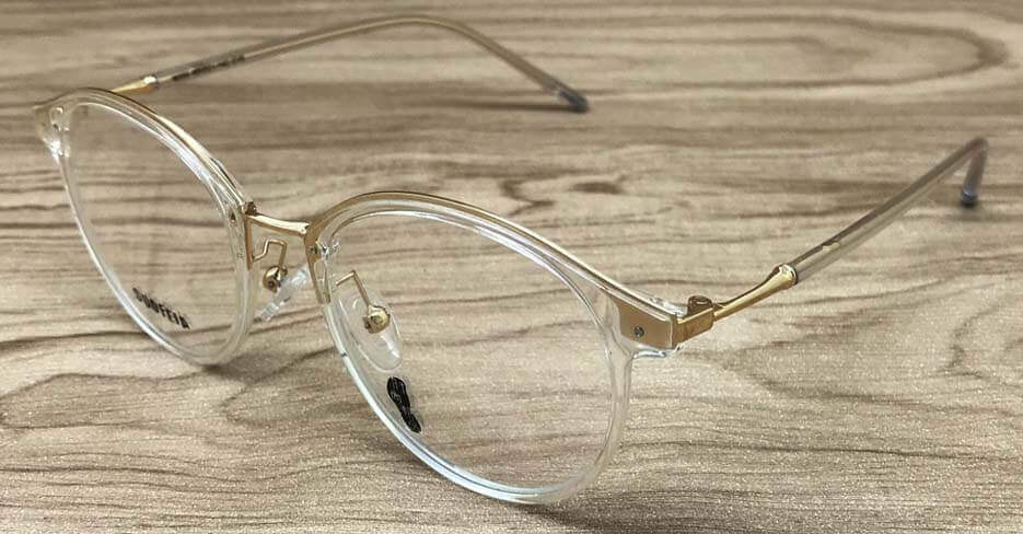 gold clear glasses