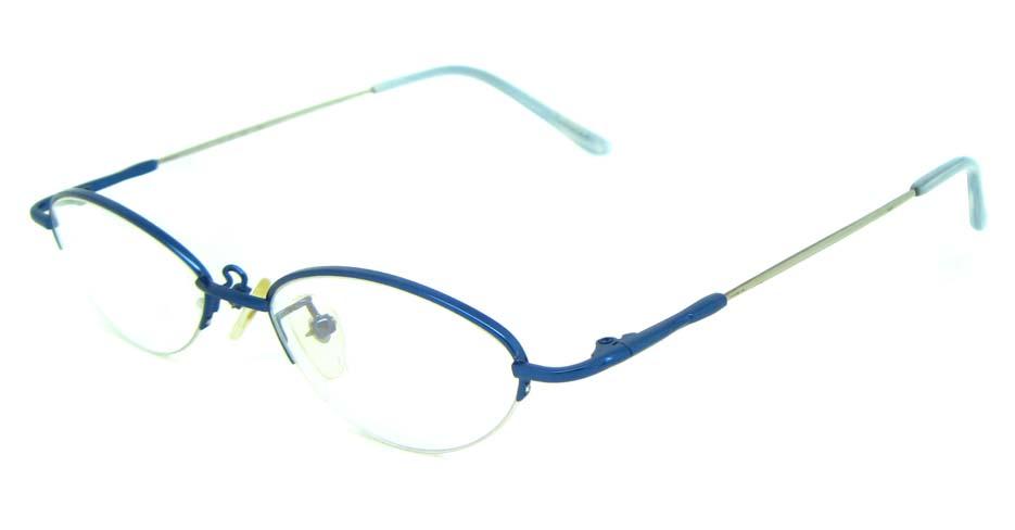 Blue metal oval glasses frame JS-LJS9915-L