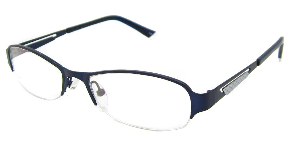 Blue metal oval glasses frame TD-CR2015-L