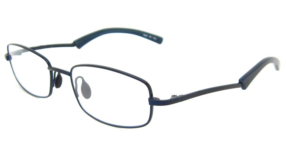 Blue rectangular metal glasses frame HL-N507-67
