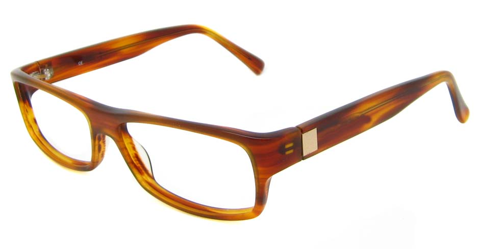 Brown acetate rectangular glasses frame HL-M100