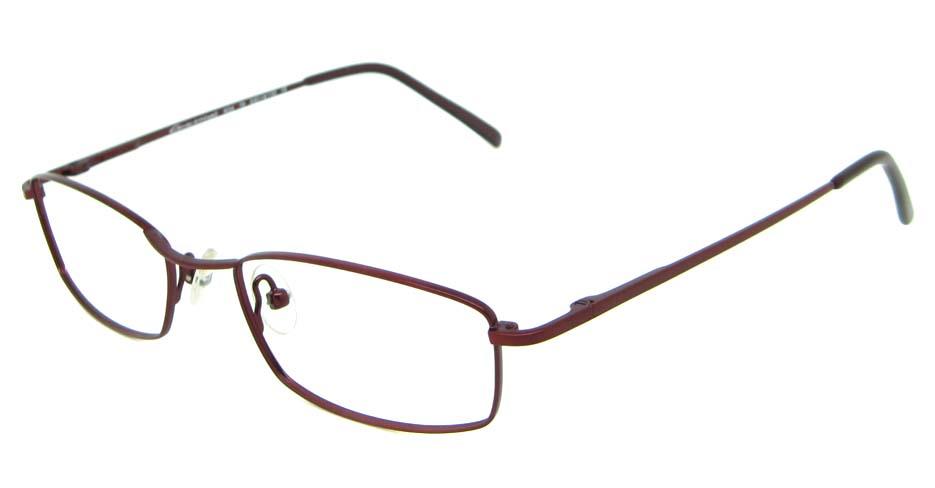 Burgundy metal oval glasses frame  HL-CON3470-H