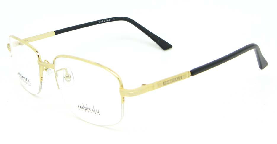 Gold Rectangular metal glasses frame WKY-FKL9818-J
