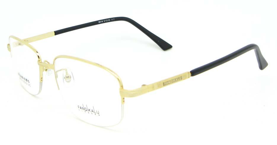 Gold Rectangular metal glasses frame WKY-FKL9818-J