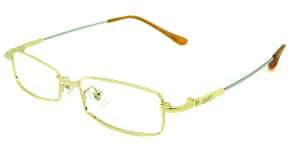 Gold metal rectangular glasses frame   JS-LJS9922-J